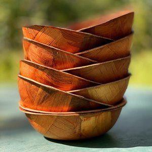 Vintage 1970s Woven Wood Parquet Soup Bowls Set 10